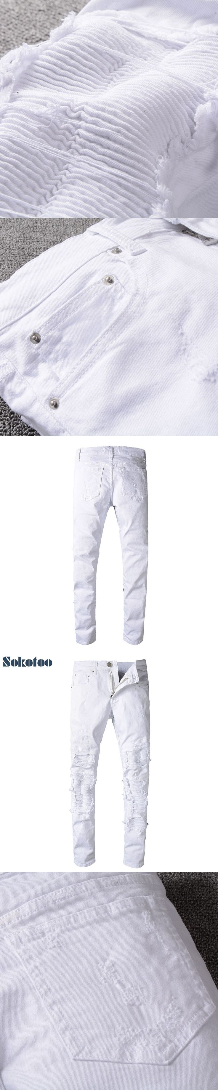 Sokotoo Men's white pleated ripped skinny biker jeans for moto Casual patchwork stretch denim pants Long trousers