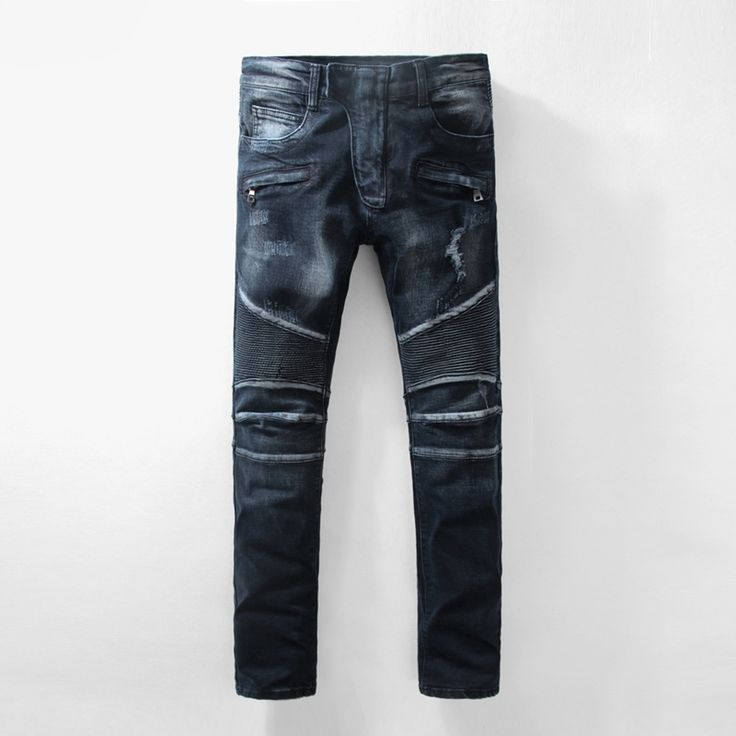 48.59$  Watch now - http://alipcu.worldwells.pw/go.php?t=32756999891 - Real Photos New Arrival Luxury Brand Designer Mens Biker Jeans Motorcycle Runway Classic Denim Overalls Ripped Jeans For Men 48.59$