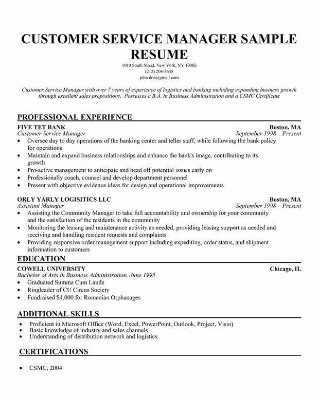Customer Service Manager Resume Fresh Custom Dissertation