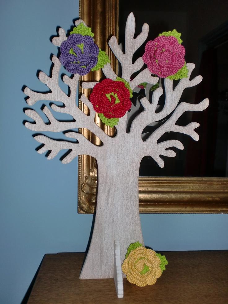gehaakte bloemen broche