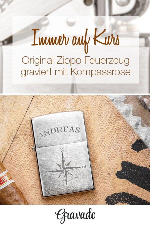 Zippo Feuerzeug personalisiert mit Gravur - Kompass | MÄNNER ...