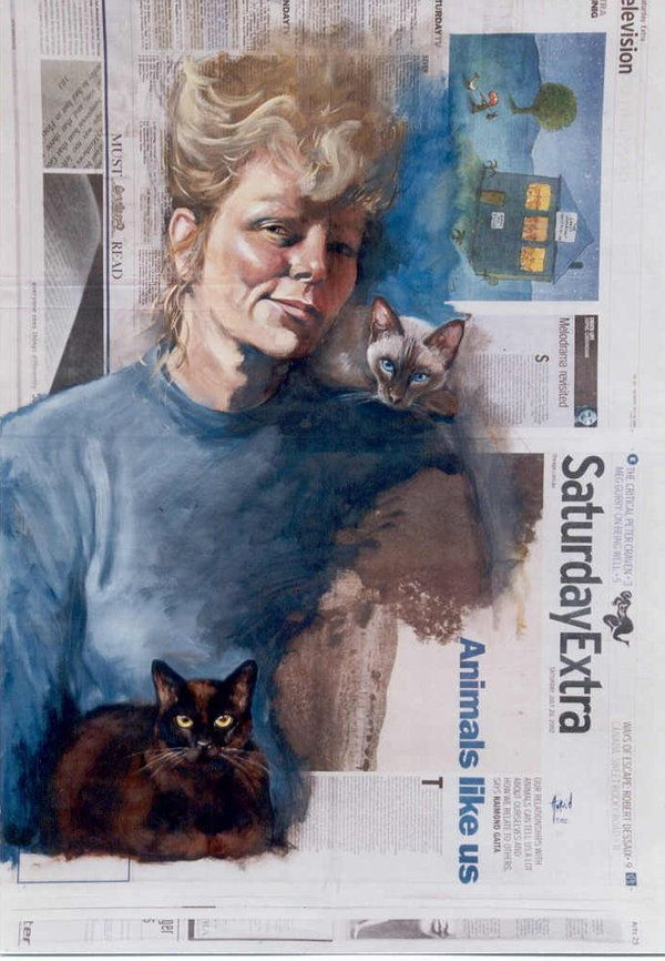 """A Question of Value by Astrid Bruning ~ Self portrait with Jezabelle (the Siamese) and Rembrandt ( Burmese) Used """"The Age """" newspaper because of large formatt, and name, selected an appropriate page, part of a series, self portrait each day using a selected page of that days news."""