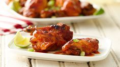 "Slow-Cooker Buffalo-BBQ Wings 3 lb chicken wingettes /drummettes  1 c honey BBQ sauce 1 c Buffalo wing sauce Spray 3 1/2- to 4-quart slow cooker with cooking spray. Place chicken in slow cooker. In small bowl, stir together sauces. Pour over wings. Stir. Cover; cook on Lo 3 hrs. Oven  to broil. Spray pan. BROIL 3-4"" from heat,turning. Serve w remaining sauce."