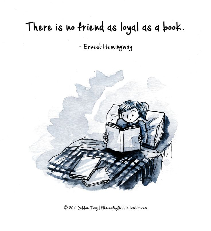 There is no friend as loyal as a book. ― Ernest Hemingway | Illustration by Debbie Tung (via wheresmybubble.tumblr.com).