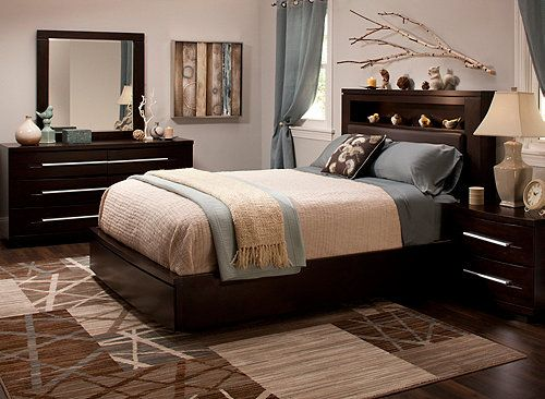 Wall Street 4 Pc Queen Leather Platform Bedroom Set W