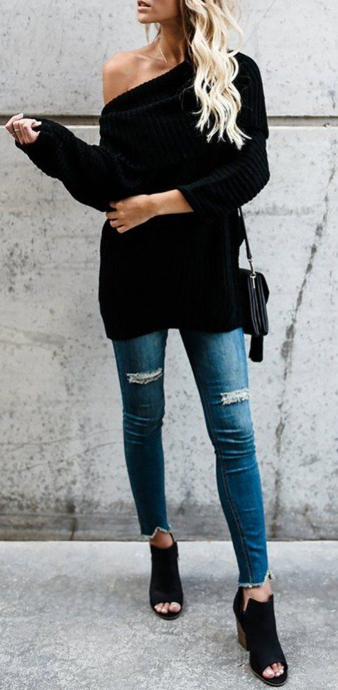 black on black with denim accents