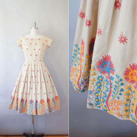 Reserved // 1950s Carolyn Schnurer dress / vintage 50s embroidered floral cotton dress / Fire Bloom on Etsy, $148.00