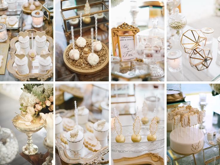 Elegant luxury gold wedding dessert table
