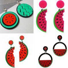 brincos divertidos de acrilico melancia