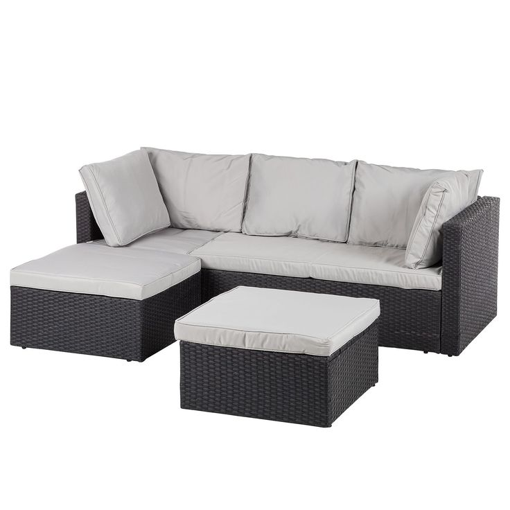 loungesofa anda 3 teilig webstoff polyrattan. Black Bedroom Furniture Sets. Home Design Ideas