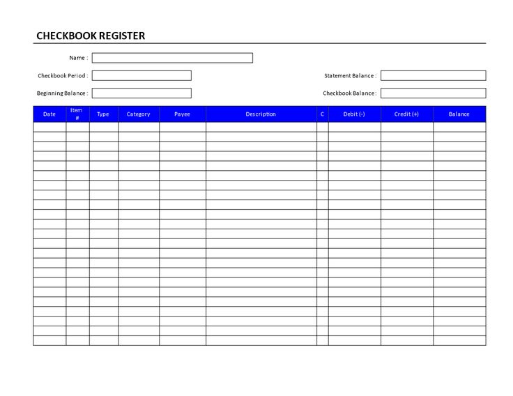Checkbook Register Form - Blank checkbook register form - Printable Bank Ledger
