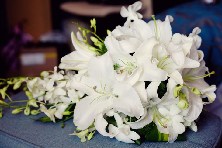 Gloriosa Lily Flower | wired wedding bouquet of White oriental lilies | Kavelle Flowers
