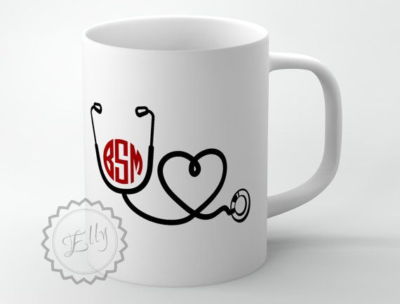 Monogrammed Nurse Coffee Mug Personalized by ButterflyGhost