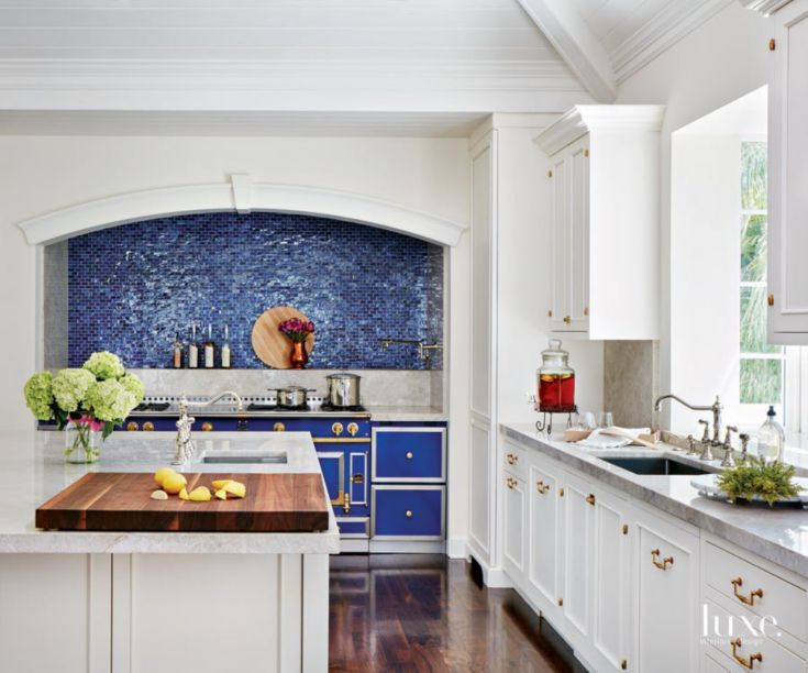 This kitchen by designer karen williams of st charles of new york makes a bold statement thanks - La cornue kitchen designs ...