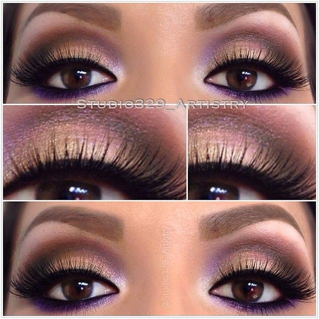 Ohh!! I love how she added subtle hints of purple in with her brown. I have done brown and dark purple to make my brown darker, but haven't tried actually adding the bright purples to accent the brown.