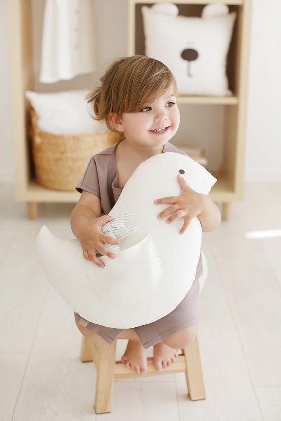 Handmade Little Bird white pillow / white pillow by MyWhiteCup