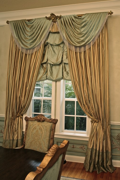 layered ballon valenceopen swags drapery panels with contrast bottom house parts drapery fabricsheri touches window
