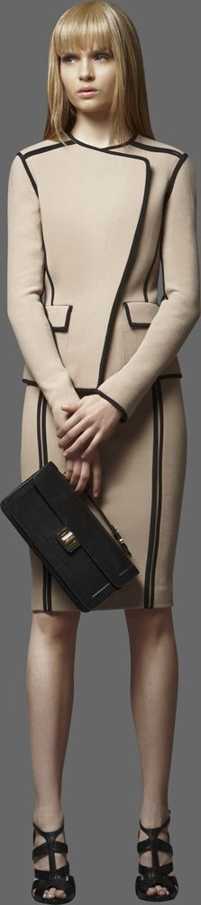 Camel and black structured skirt suit by Elie Saab, RTW pre-fall 2012 I believe