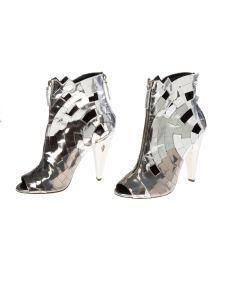 Emily London Closet Giuseppe Zanotti silver metallic zip up open-toe booties