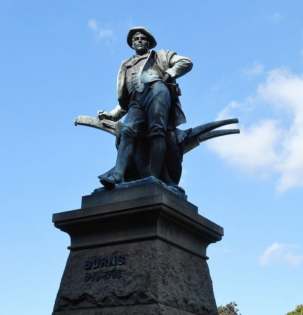 Robert Burns statue, Art Gallery Road, Sydney, Bronze statue (2.9 metres high) by Frederick Pomeroy RA (1856 – 1924). He was a prolific British sculptor of architectural and monumental works, with a naturalistic  style. His largest outdoor works are the four enormous bronze figures on the Vauxhall Bridge in London.