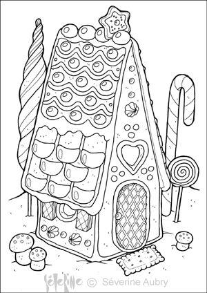maison pain épices, Hansen et Gretel, coloriage conte, coloriage bonbons, Jeannot et Margot,