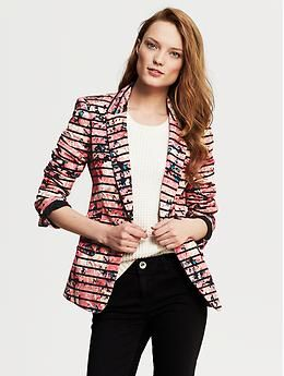 Striped Floral One-Button Blazer | Banana Republic - order tall