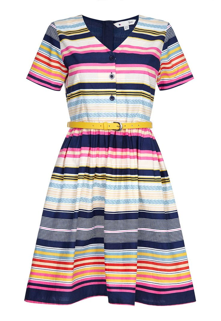This vintage inspired summer dress is the perfect choice for special occasions this season! Featuring a classic button up bodice with short sleeves, this striped dress has a bright yellow belt to nip you in at the waist and a playful flared skirt for that flirty 50's style look.  V-neckline Includes yellow belt Striped pattern Button detail Zip fastening  Team LBD recommends:For a day at the races or a summer wedding, style this dress with heeled sandals and a chic fascinator.