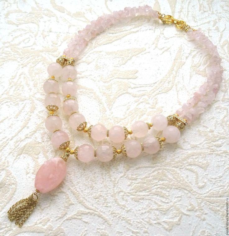 """Купить Колье """"Розовая вода"""" (розовый кварц, сваровски ) - бледно-розовый, пыльная роза"""
