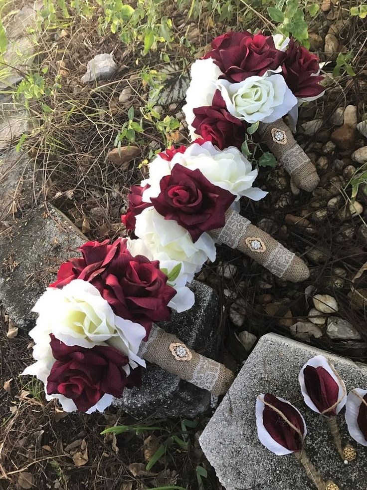 3 Rustic  Shabby burlap toss/bridesmaids Burgundy Ivory wedding bouquet Country #Unbranded