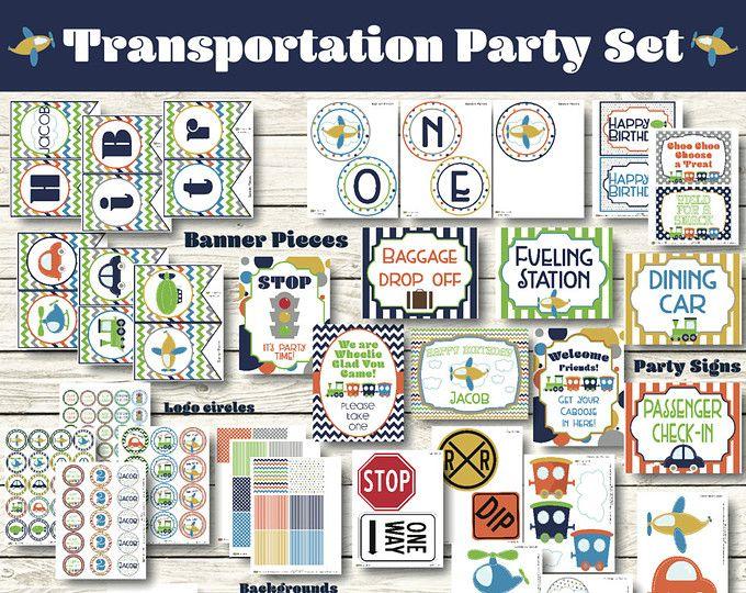 Transportation Party Decorations - Transportation Birthday Decorations - Transportation Printable - Planes Trains Automobiles Party - Banner