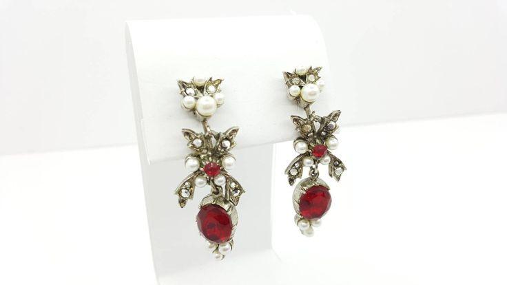 ART Red Royalty Pearl and Marcasite long Clip Earrings Drops Dangles signed Art #jewellery #earrings #etsyseller