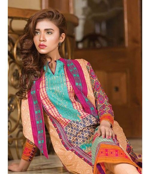 Signature Icon Embroidered Lawn Collection 2016 ZS_6B