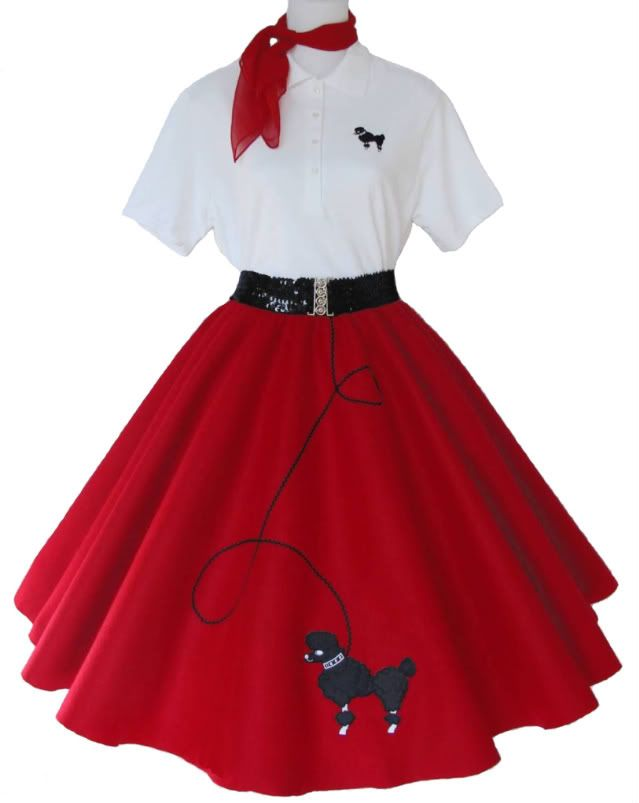 6 Piece 50 39 S Poodle Skirt Outfit Size Medium Red