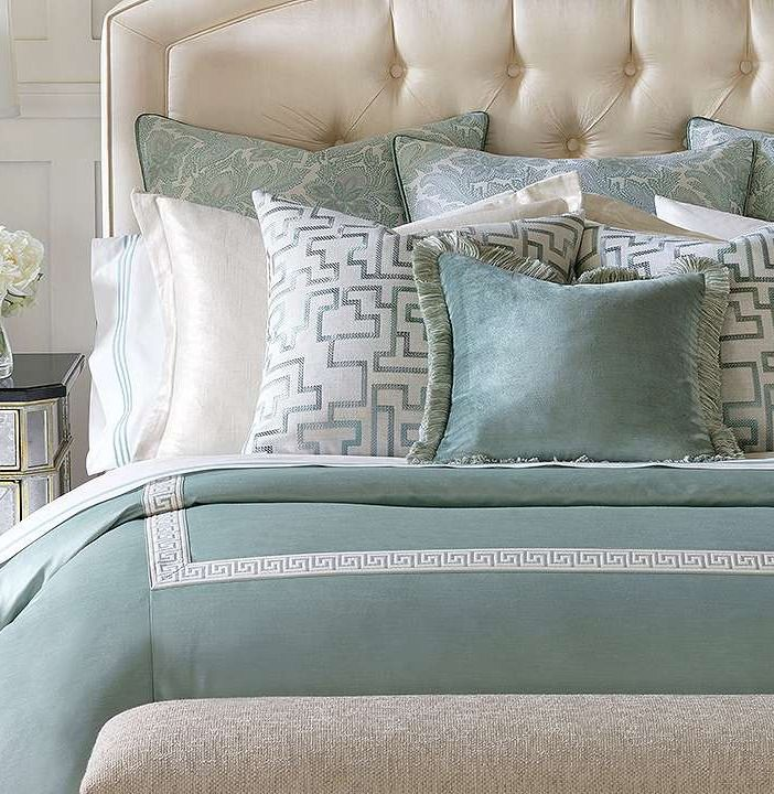The soft aqua and cream colors in this bedding create a calming ambience, making this collection an exceptional addition to any bedroom.