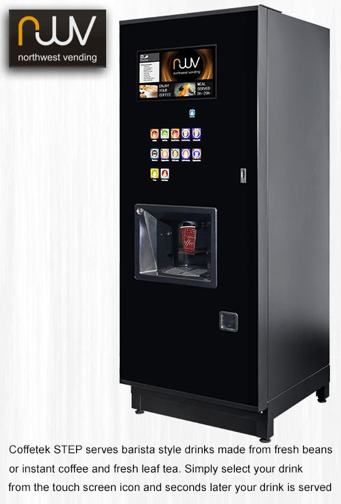Coffetek Step, one of the best bean to cup, instant coffee and fresh leaft tea vending machines on the market. It is simple to use, produces great drinks and looks great. #North West Vending, #Coffetek Step, #bean to cup,