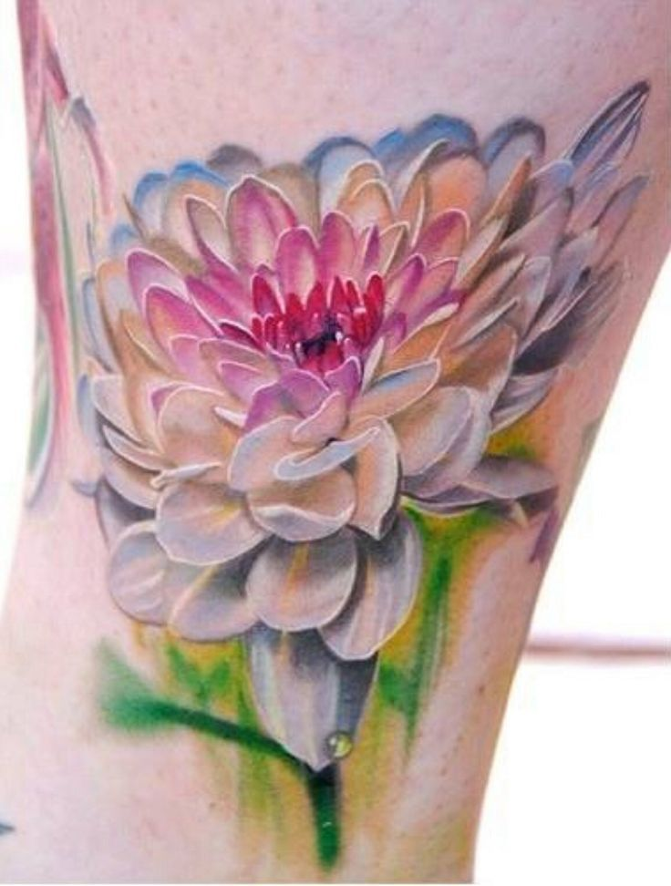 Watercolor Dahlia Flower Tattoo Design For Sleeve
