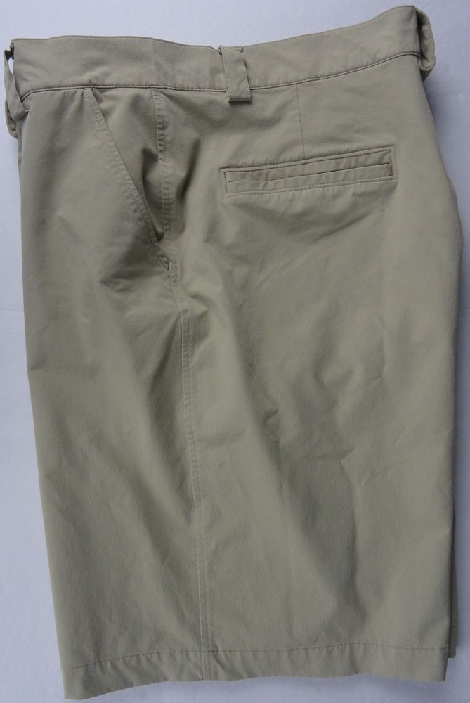 Under Armour Shorts Golf Athletic Men's 38R Waist Khaki Flat Front Nylon Stretch #UnderArmour #Golf