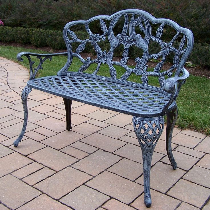Outdoor Oakland Living Hummingbird Cast Aluminum 44 in. Verdi Grey Loveseat Bench - 3206-VGY