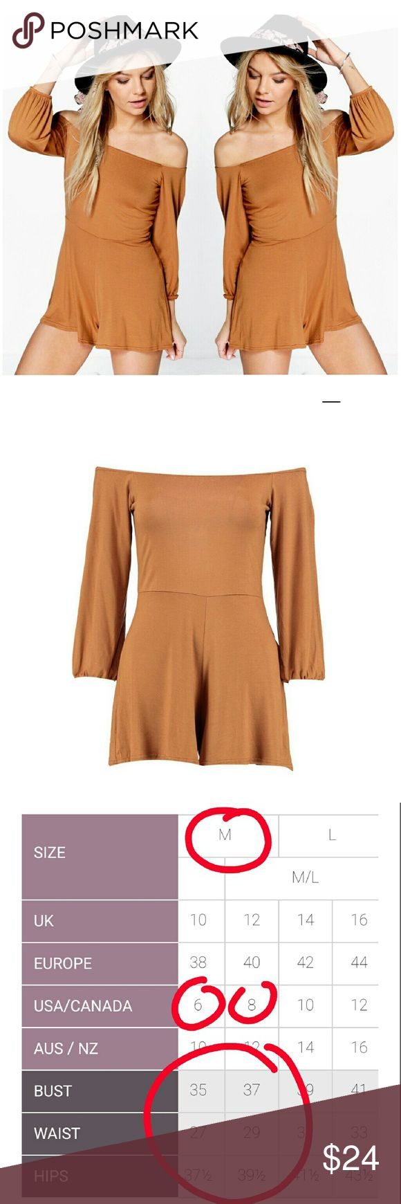 Off The Shoulder Jersey Playsuit in Tan Off The Shoulder Jersey Festival Playsuit in Tan.  Size Medium available in both size 6 and 8. Please comment below on the specific size you'd like. Brand new with tags.   Material is 95% Viscose, 5% Elastane. Boohoo Shorts