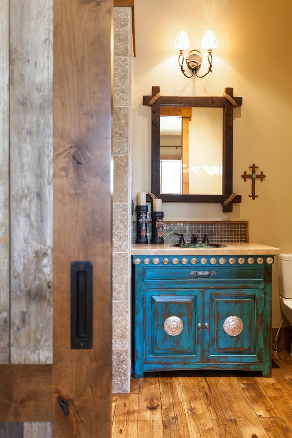 Mountain Cabin Overflowing With Rustic Character And Handcrafted Beauty.  Western DecorWestern StyleTurquoise BathroomTexas HomesCabinet ...