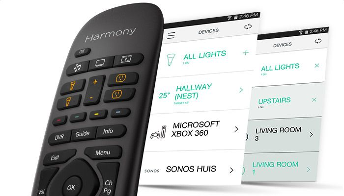 Harmony Home Control-   Remote control to control all home theater and game devices as well as basement lights with the Philips Hue lights and Nest thermostat