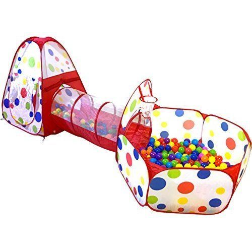 Kids Play Tunnel Tend Crawl Christams Gift Playhouse Babies Basketball Hoop NEW #KidsPlayTunnelTendCrawl