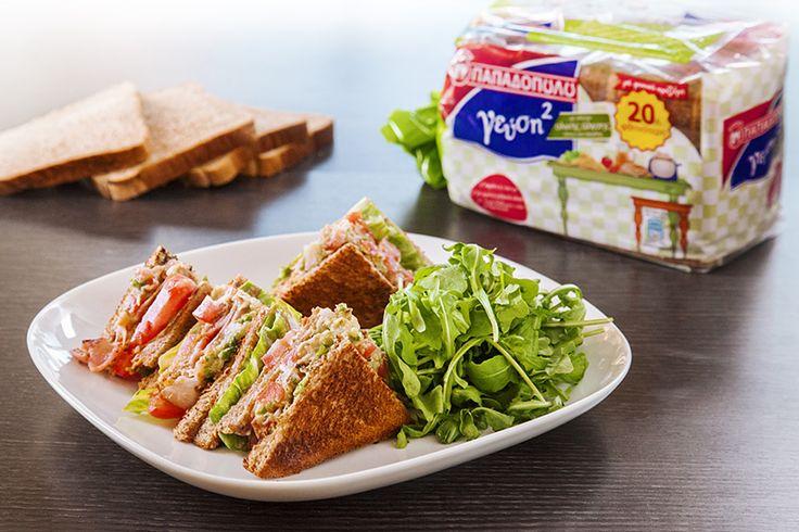 "Club Sandwich με Ψωμί για Τοστ ""Γεύση στο Τετράγωνο"" ΠΑΠΑΔΟΠΟΥΛΟΥ Ολικής Άλεσης"