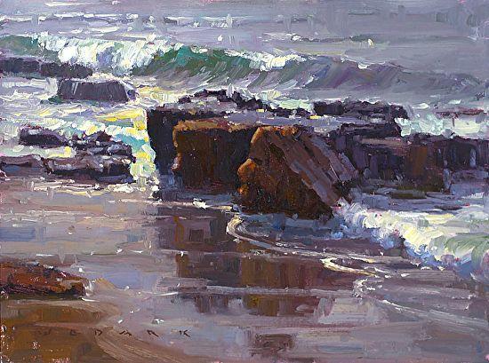 Silver Surf by Jim Wodark Oil ~ 12 x 16