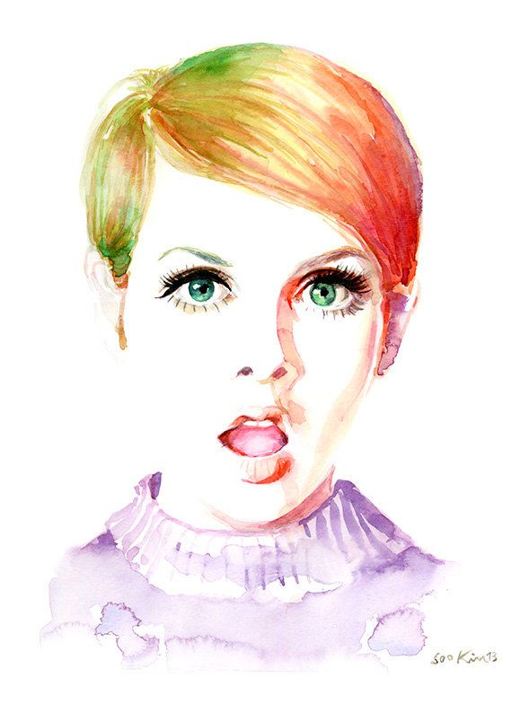 Watercolor Fashion Illustration - Twiggy