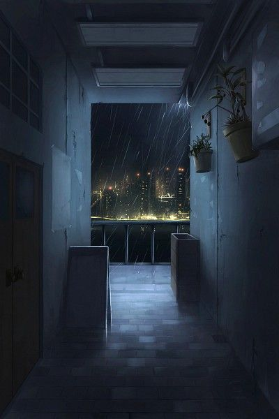 anime episode backgrounds scenery rainy night interactive apartment hallway sky cool sit nice