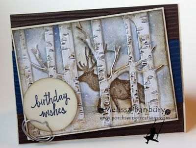 handmade birthday card: In the Woods ... fab use of the birches embossing folder ... luv the inking and the moose behind the trees ... Stampin' Up!