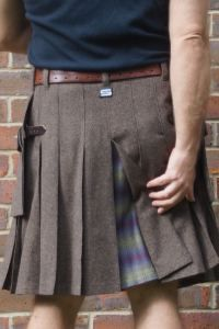 Brown suiting kilt with dashing tweed