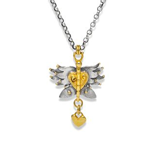 Seraphin Butterfly in silver with gold plated touches.  Sophie Harley, Beautiful Designer PFN35 from the Papillion Rose collection.