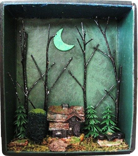 Halloween Haunted House Witch Shadow Box Gothic by fantasycrafts, $75.00